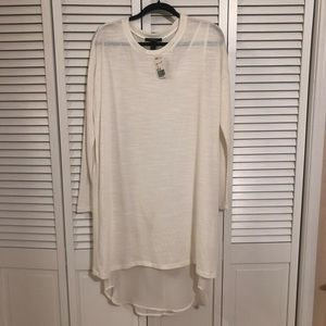 F21 Cream/White Sweater Dress with Chiffon